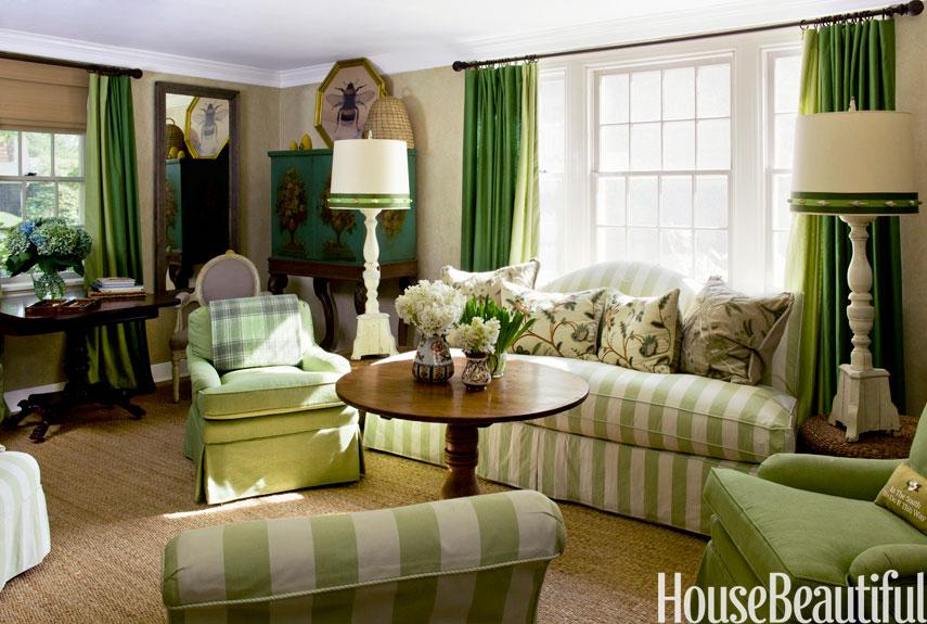 การตกแต่งห้องนั่งเล่นสีเขียว