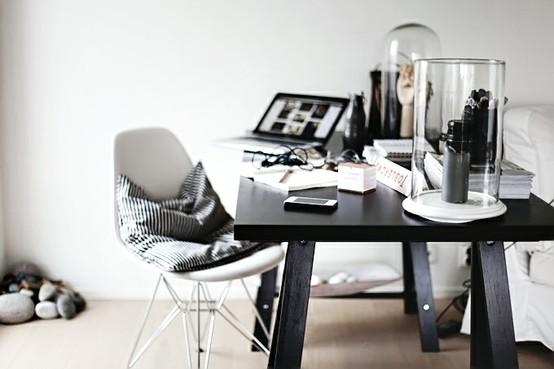 ห้องทำงานสวยโทนสีขาวดำ