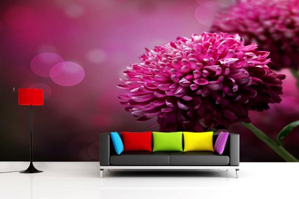 Wallpaper ผนัง ดอกไม้สีชมพู