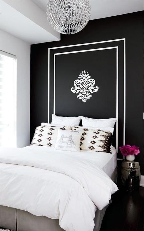 ห้องนอนสวยโทนสีขาวดำ
