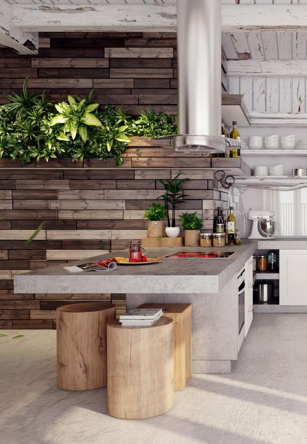 แบบห้องครัว ผนังไม้ สวยงาม