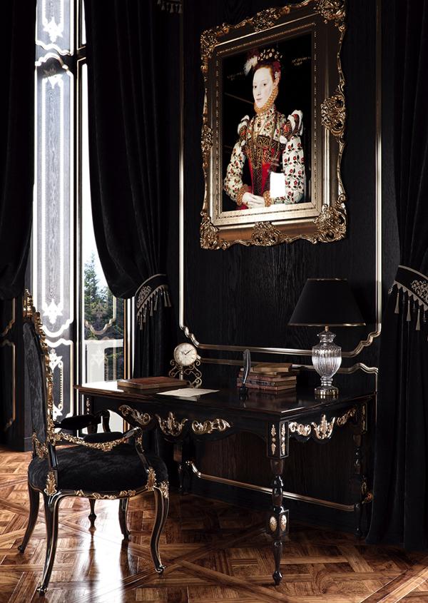 แบบห้องหรูหรา สีดำทอง สไตล์คลาสสิค