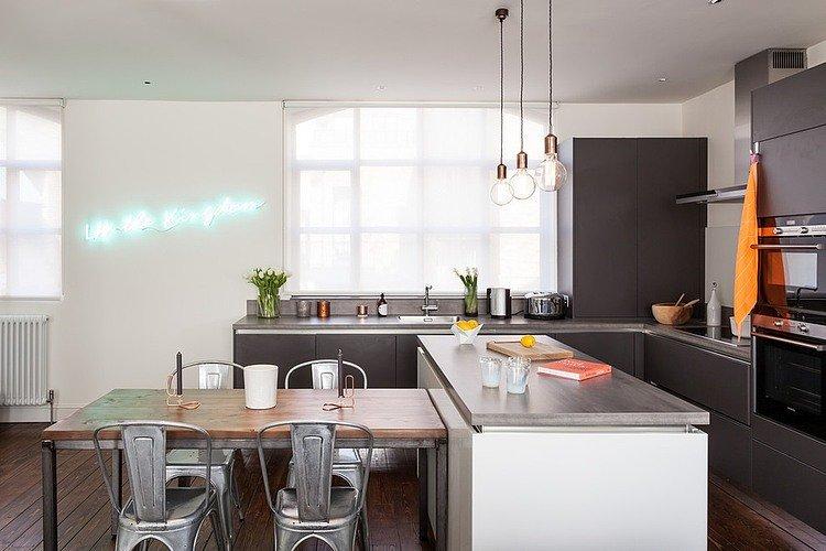แบบห้องครัว สไตล์โมเดิร์น โทนสีเทา