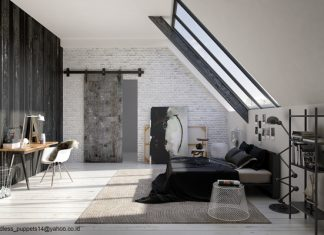 แบบห้องนอน ผนังอิฐบล็อก พื้นไม้ โทนสีขาวดำ (Rustic Bedroom)
