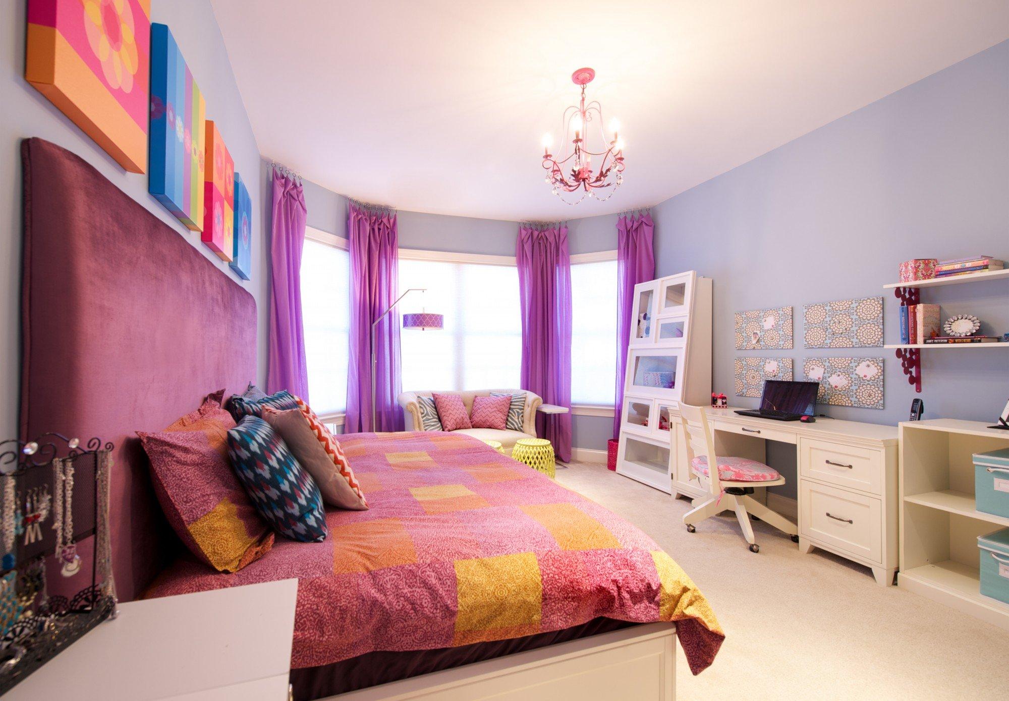ไอเดียตกแต่งห้องนอน โทนสีม่วง สีชมพู