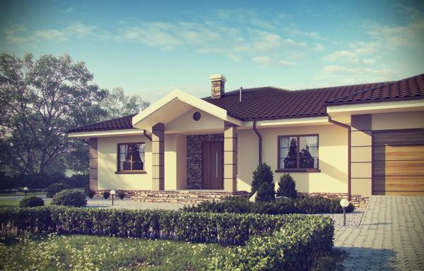 แบบบ้านครอบครัวชั้นเดียว มีสนามหญ้าหน้าบ้าน