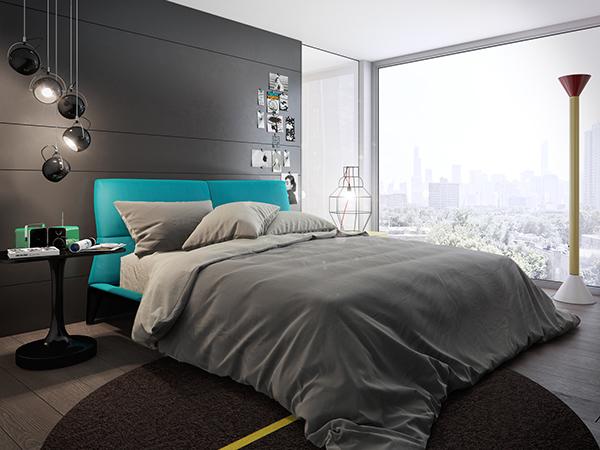 แบบห้องนอนสีเทา ทันสมัย