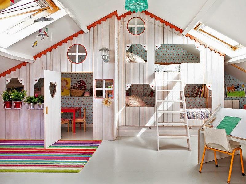 ไอเดียตกแต่ง ห้องนอนเด็ก ทำเตียง2ชั้น เป็นบ้าน