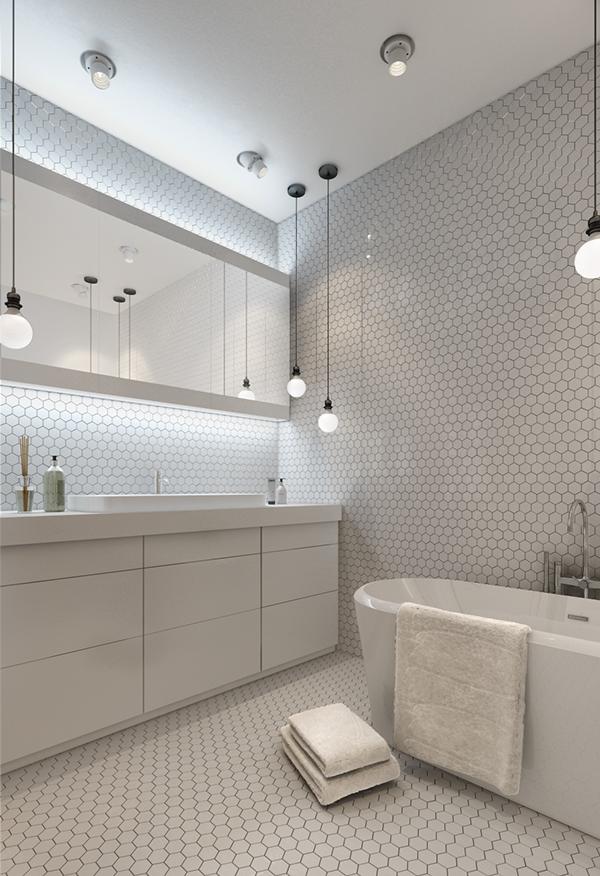 แบบห้องน้ำสไตล์โมเดิร์น ในพื้นเล็กๆ แคบๆ โทนสีขาว