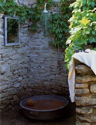 ห้องอาบน้ำในสวน กลางแจ้ง