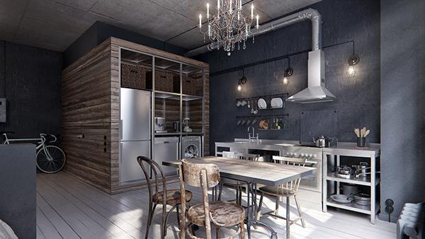 แบบห้องครัว สไตล์ลอฟท์ โทนสีเทา