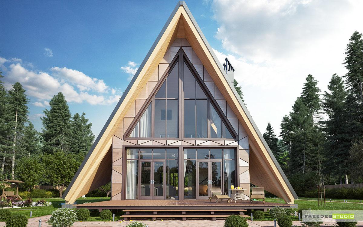แบบบ้านไม้หรู ดีไซน์ทรงสามเหลี่ยม