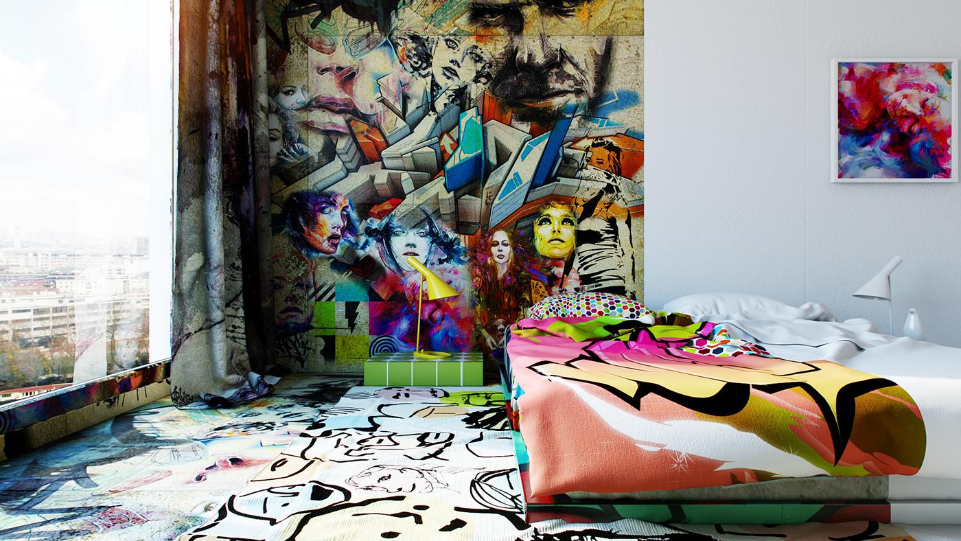 แบบห้องนอน คอนโด ตกแต่งสีสันจัดจ้าน มีศิลปะ