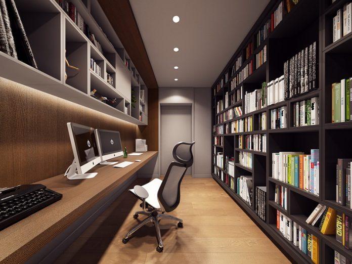 แบบห้องทำงาน สไตล์โมเดิร์น มีชั้นหนังสือติดผนัง