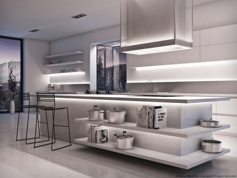 แบบห้องครัว สไตล์มินิมอล โทนสีขาว