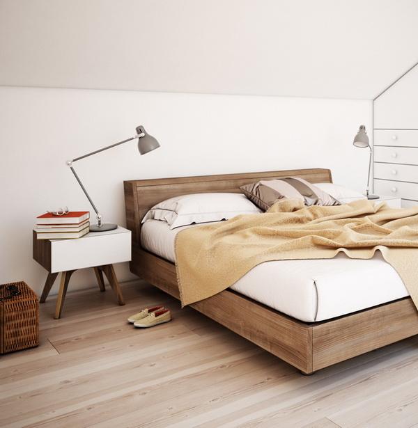 แบบห้องนอน บนพื้นไม้ ใต้หลังคา