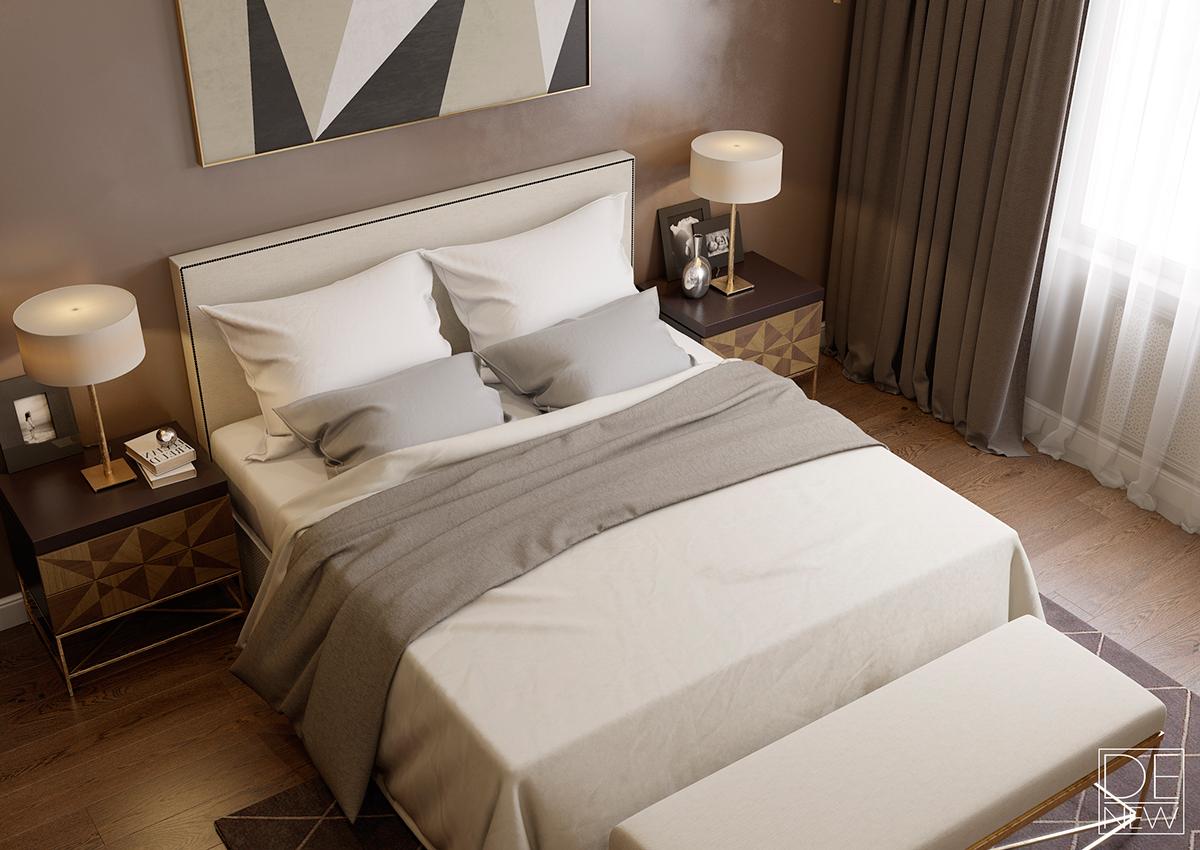 แบบห้องนอน โทนสีน้ำตาล ช็อคโกแลต