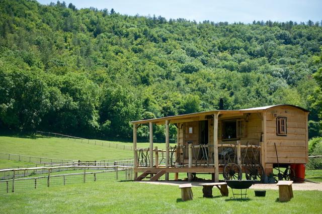 กระท่อมไม้ กับฟาร์มเลี้ยงมา ในบรรยากาศที่สวยงาม