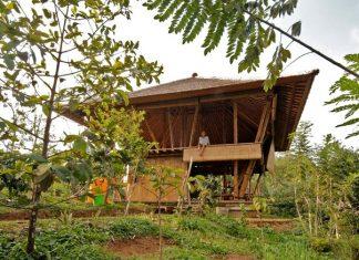บ้านไม้ไผ่บาหลี 2 ชั้น หลังคามุงจาก เปิดโล่งรับบรรยากาศ