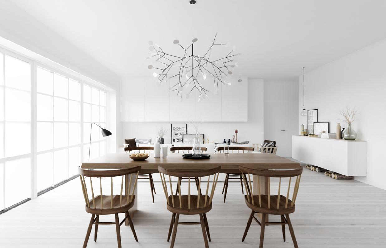 แบบห้องครัว โทนสีขาว ตกแต่งด้วยเฟอร์นิเจอร์ไม้