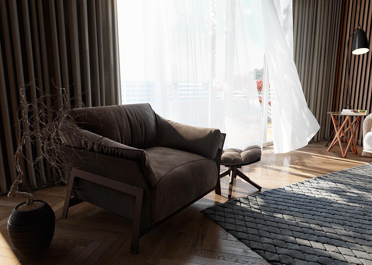 แบบห้องนั่งเล่น บ้าน คอนโด มีผนังกระจกบานใหญ่ ติดผ้าม่าน 2 ชั้น