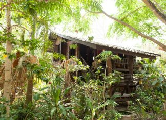 บ้านไม้ยกพื้นสไตล์ล้านนา ยกพื้นสูงมีชั้นใต้ถุน ชั้นบนมีระเบียงนั่งเล่นพักผ่อน
