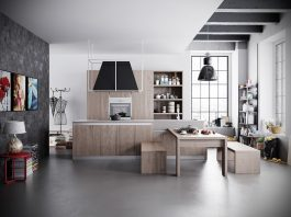 แบบห้องครัวสไตล์ลอฟท์ โทนสีขาว-ดำ เติมแต่งด้วยเฟอร์นิเจอร์ไม้