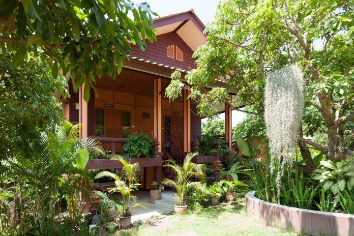 แบบบ้านปูนยกพื้น บ้านประยุกต์ไทยภาคเหนือ จัดสวนสไตล์ทรอปิคอล