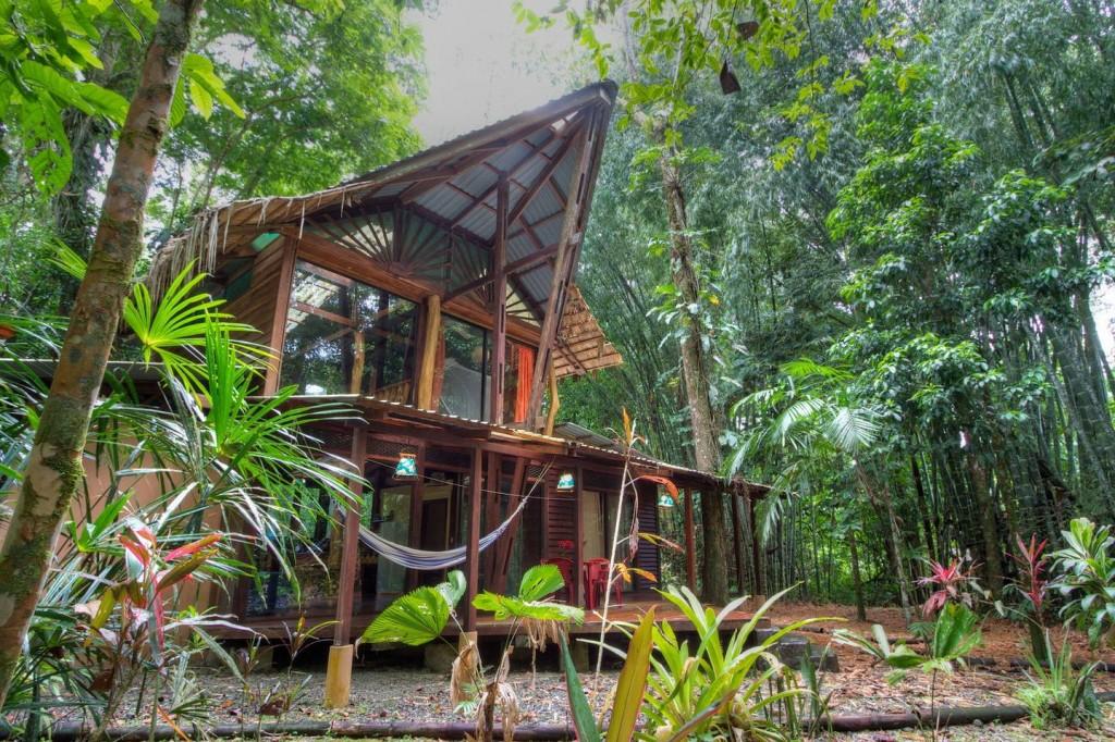 บ้านไม้สองชั้น มีชานไม้ชายคาด้านหน้า ทำผนังกระจกใสเห็นวิวป่าธรรมชาติ