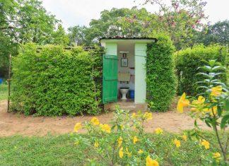 ไอเดียสร้างห้องน้ำเล็ก ๆ นอกบ้าน พร้อมจัดสวนสวยให้น่าใช้งาน