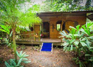บ้านไม้หลังเล็ก ๆ ปูพื้นด้วยไม้เนื้อแข็งและกระเบื้องเซรามิก ในบรรยากาศสวนป่าทรอปิคอล