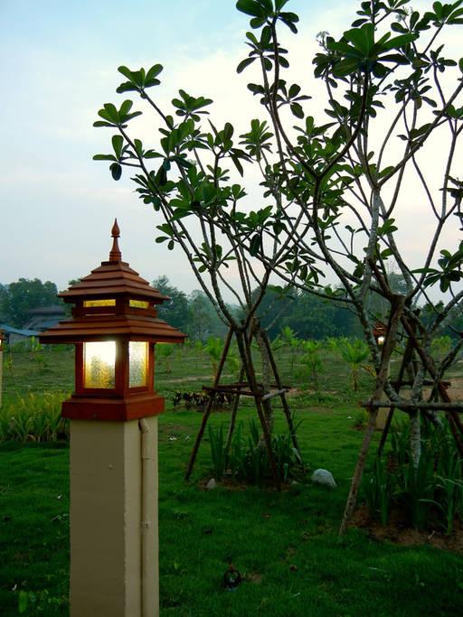 แบบบ้านไทยร่วมสมัย ตกแต่งสวนสวย เหมาะสำหรับครอบครัวขนาดใหญ่