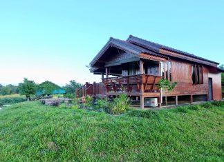 บ้านไม้ยกพื้นหลังเล็ก แยกครัวและห้องน้ำไว้ด้านหลัง พร้อมทำผนังปูนเปลือยภายใน